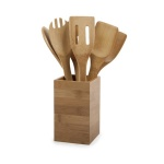 6pcs bamboo utensils with holder